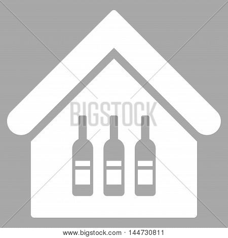 Wine Bar icon. Glyph style is flat iconic symbol, white color, silver background.