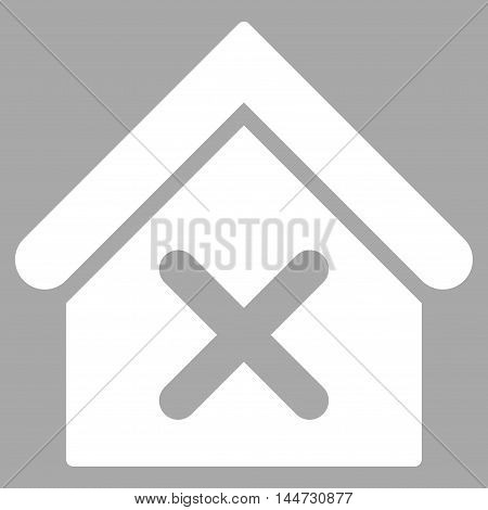 Wrong House icon. Glyph style is flat iconic symbol, white color, silver background.