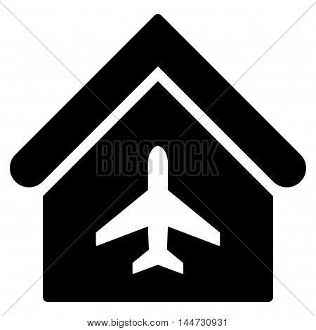 Aircraft Hangar icon. Glyph style is flat iconic symbol, black color, white background.