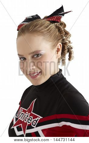 Cheerleader pose in front of white background