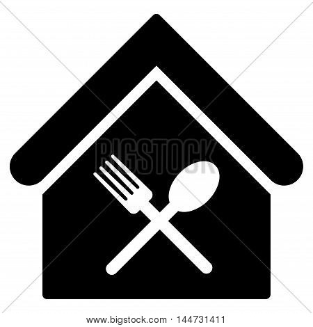 Food Court icon. Glyph style is flat iconic symbol, black color, white background.