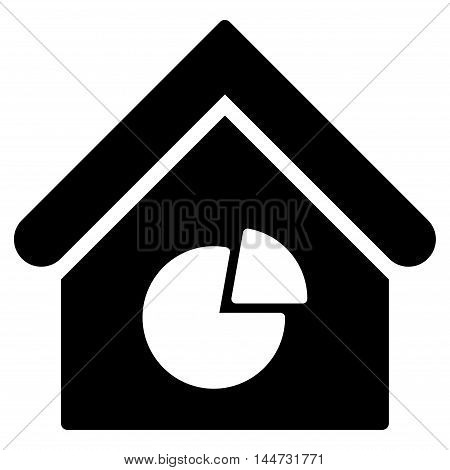 Realty Pie Chart icon. Glyph style is flat iconic symbol, black color, white background.