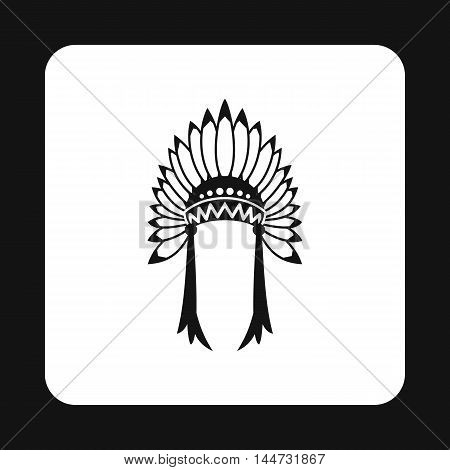 Indian headdress icon in simple style isolated on white background. Tribal symbol