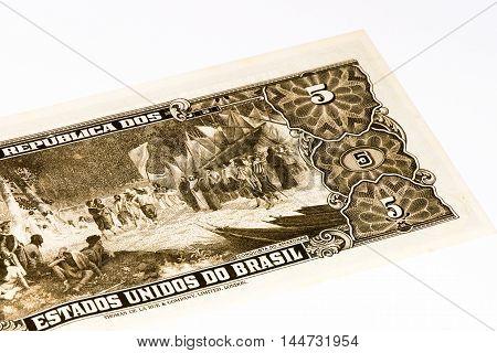 5 Brasilian cruzeiro bank note. Cruzeiro is the former currency of Brasil