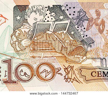 100 Brasilian cruzeiro bank note. Cruzeiro is the former currency of Brasil