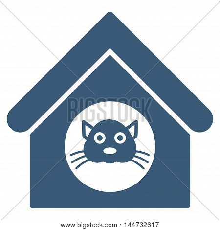 Cat House icon. Glyph style is flat iconic symbol, blue color, white background.