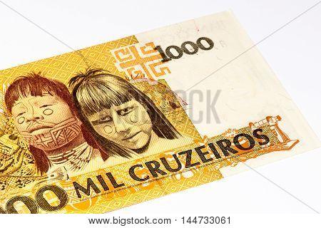 1000 Brasilian cruzeiro bank note. Cruzeiro is the former currency of Brasil