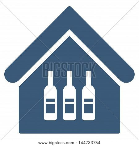 Wine Bar icon. Glyph style is flat iconic symbol, blue color, white background.