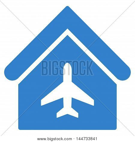 Aircraft Hangar icon. Glyph style is flat iconic symbol, cobalt color, white background.