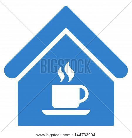 Cafe House icon. Glyph style is flat iconic symbol, cobalt color, white background.
