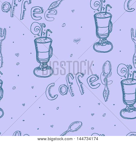 latte macchiato with coffee beans, spoon and fork on background, Seamless hand drawn pattern.