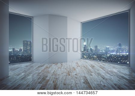 Empty Room With Night City View