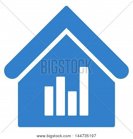Realty Bar Chart icon. Glyph style is flat iconic symbol, cobalt color, white background.