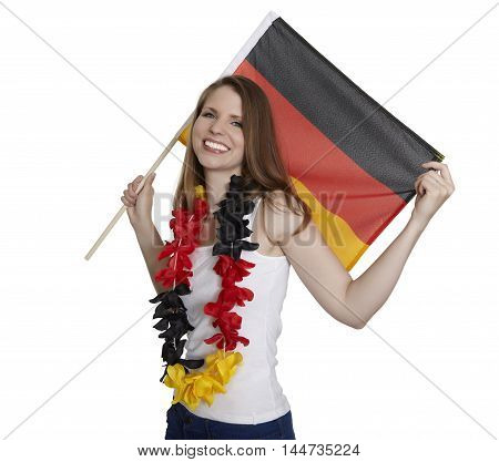 Attractive woman shows german flag and smiles in front of white background