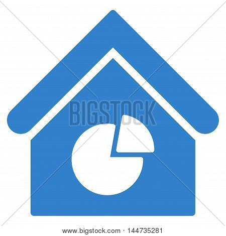 Realty Pie Chart icon. Glyph style is flat iconic symbol, cobalt color, white background.