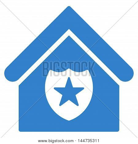 Realty Protection icon. Glyph style is flat iconic symbol, cobalt color, white background.