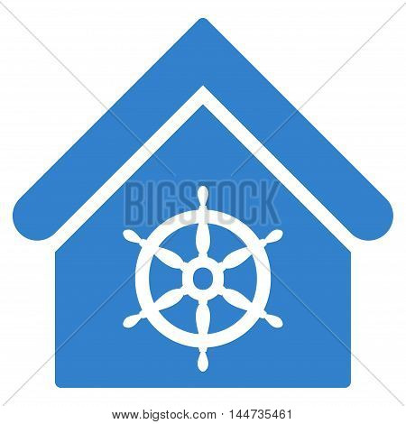 Steering Wheel House icon. Glyph style is flat iconic symbol, cobalt color, white background.