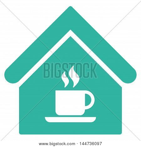 Cafe House icon. Glyph style is flat iconic symbol, cyan color, white background.