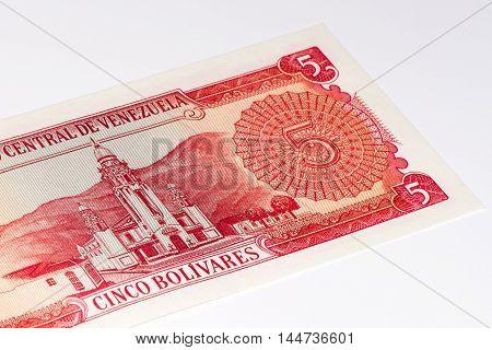 5 Venezuelan bolivares bank note. Bolivares fuertes is national currency of Brasil
