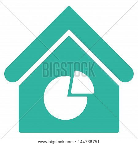 Realty Pie Chart icon. Glyph style is flat iconic symbol, cyan color, white background.