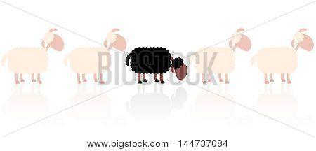 Bad seed - sad black sheep between white sheep.