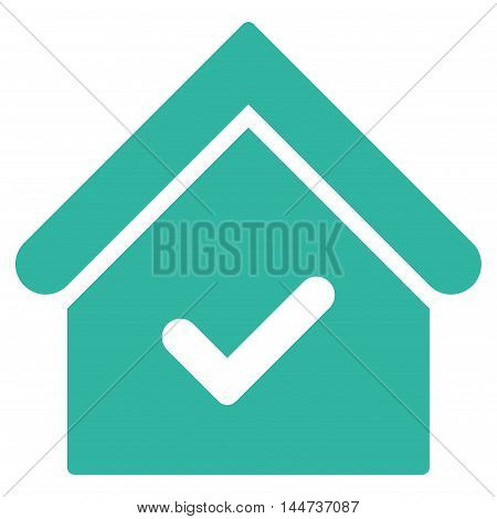 Valid House icon. Glyph style is flat iconic symbol, cyan color, white background.