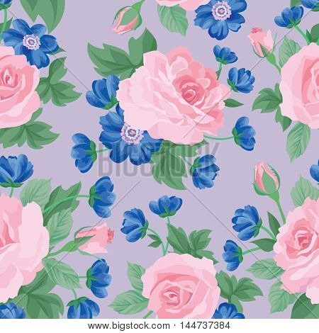 Floral bouquet seamless pattern. Flower posy background. Floral ornamental texture with flowers. Flourish garden