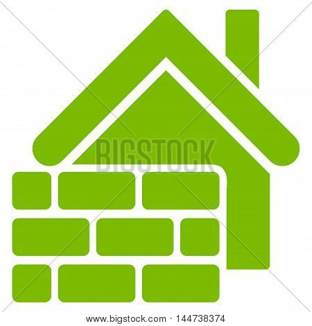 Realty Brick Wall icon. Glyph style is flat iconic symbol, eco green color, white background.