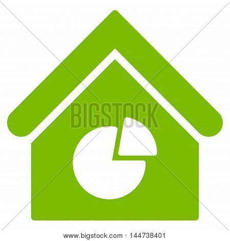 Realty Pie Chart icon. Glyph style is flat iconic symbol, eco green color, white background.