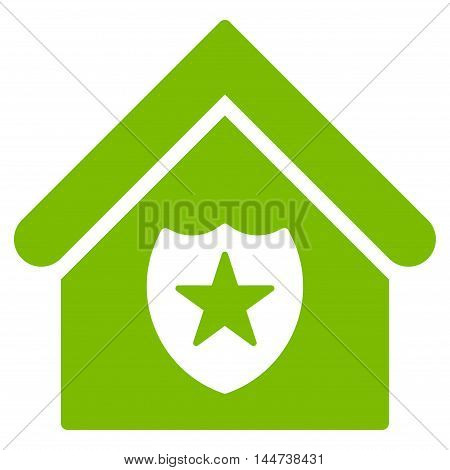 Realty Protection icon. Glyph style is flat iconic symbol, eco green color, white background.
