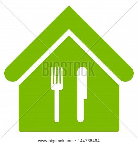 Restaurant icon. Glyph style is flat iconic symbol, eco green color, white background.