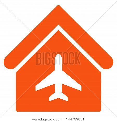 Aircraft Hangar icon. Glyph style is flat iconic symbol, orange color, white background.