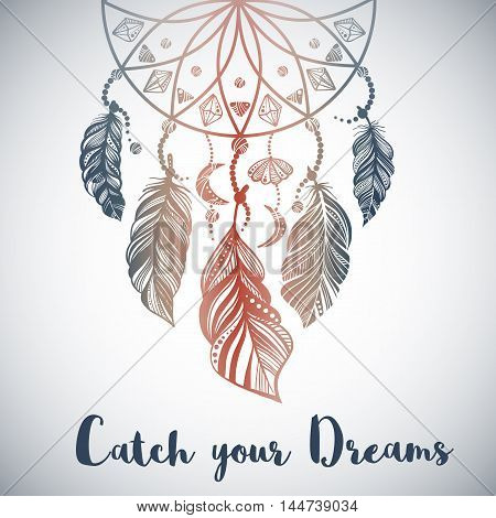 Hand drawn illustration of dream catcher in Boho style. Vector illustration