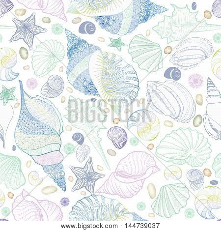 Seashell seamless pattern. Summer holiday marine background. Underwater ornamental textured sketching  with sea shells sea star and sand.