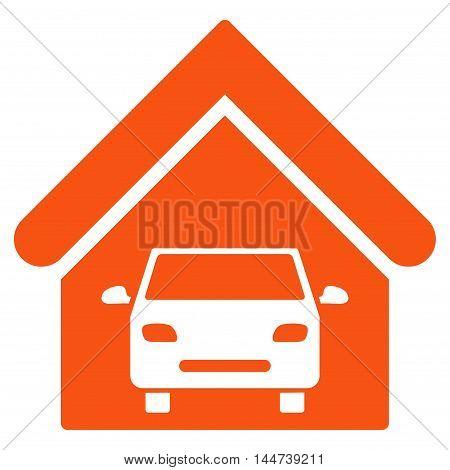 Car Garage icon. Glyph style is flat iconic symbol, orange color, white background.