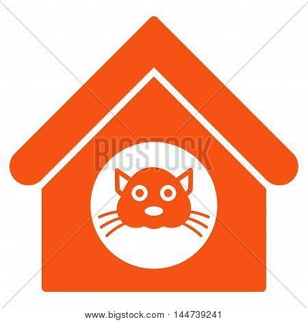 Cat House icon. Glyph style is flat iconic symbol, orange color, white background.