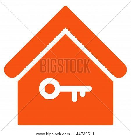 Home Key icon. Glyph style is flat iconic symbol, orange color, white background.