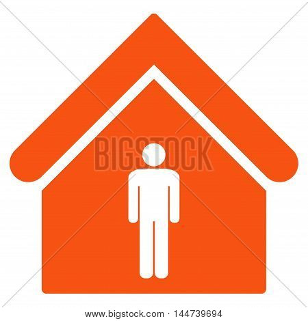 Man Toilet Building icon. Glyph style is flat iconic symbol, orange color, white background.