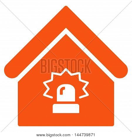 Realty Alarm icon. Glyph style is flat iconic symbol, orange color, white background.