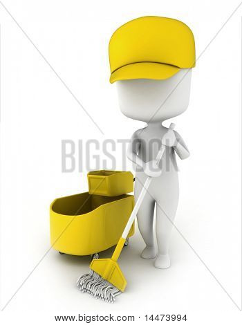 3D Illustration of a Janitor Mopping the Floor