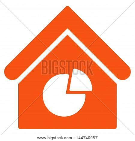 Realty Pie Chart icon. Glyph style is flat iconic symbol, orange color, white background.