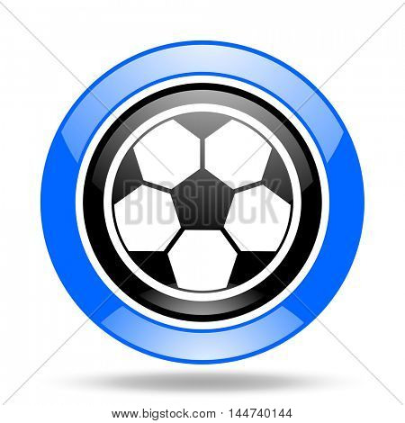 soccer round glossy blue and black web icon