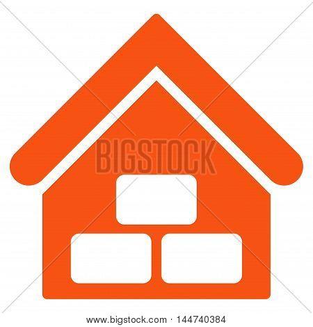 Warehouse icon. Glyph style is flat iconic symbol, orange color, white background.