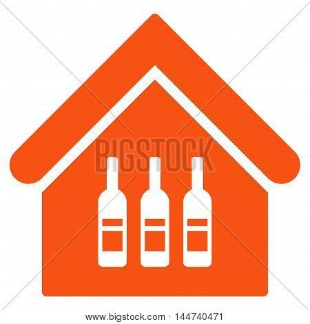 Wine Bar icon. Glyph style is flat iconic symbol, orange color, white background.