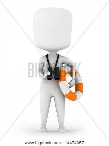 3D Illustration of a Lifeguard Carrying a Lifebuoy