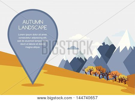Autumn Mountains Landscape, Vector Background. Pin Mapping Mark With Place For Text.