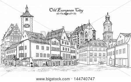 Street with old buildings and cafe in old city. Cityscape - houses buildings and tree on alleyway. Old city view. Medieval european castle landscape. Urban landscape illustration. Pencil drawn ketch