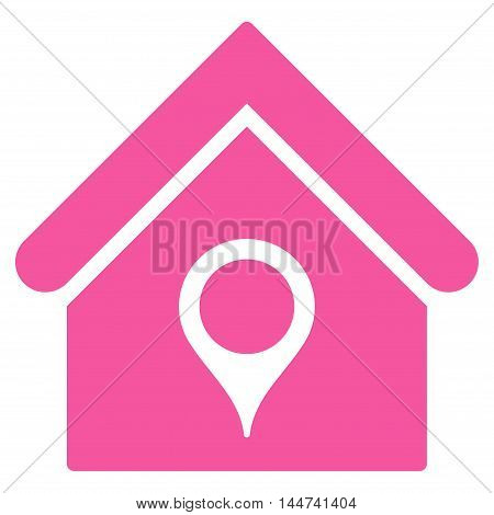House Location icon. Glyph style is flat iconic symbol, pink color, white background.