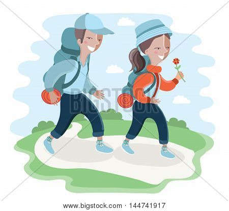 Vector illustration of funny cartoon character. Kids tourists boy and girl scouts