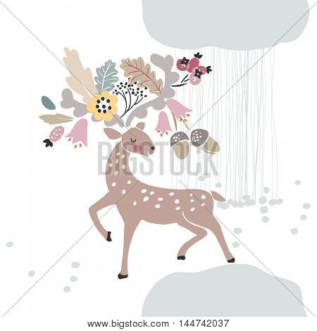 deer with autumn in horns